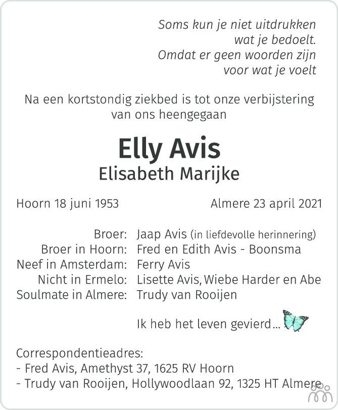 Overlijdensbericht van Elly (Elisabeth Marijke) Avis in de Volkskrant