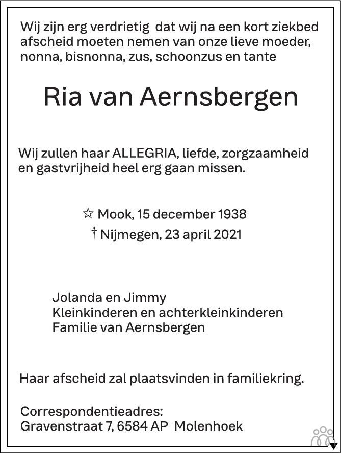 Overlijdensbericht van Ria van Aernsbergen in de Gelderlander