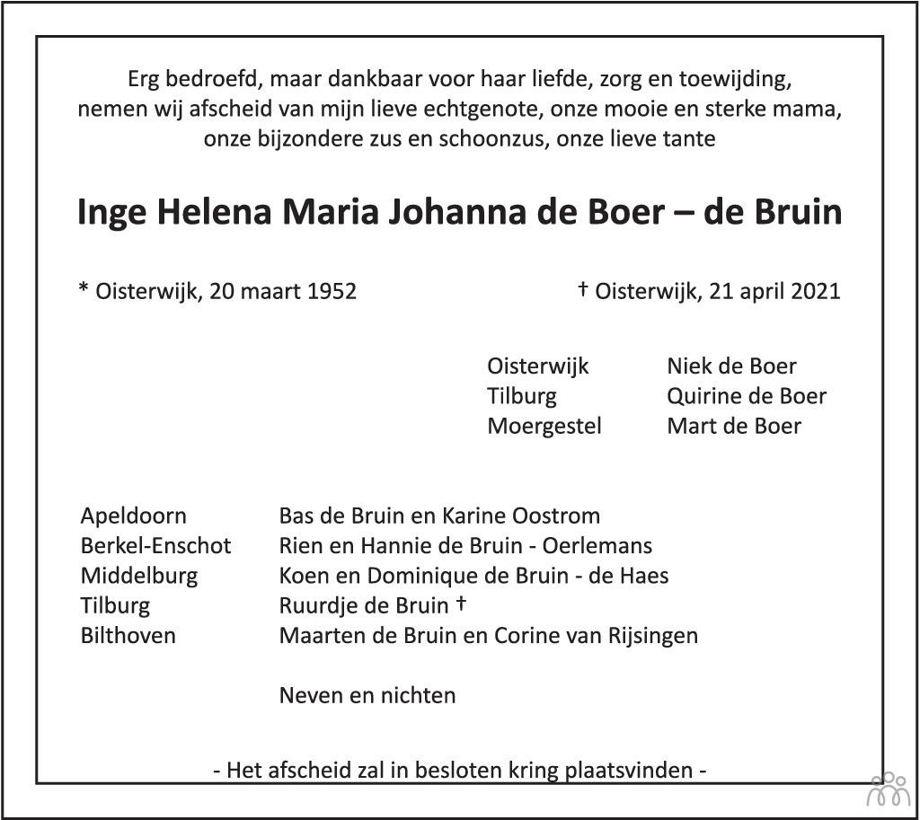 Overlijdensbericht van Inge Helena Maria Johanna de Boer-de Bruin in Brabants Dagblad