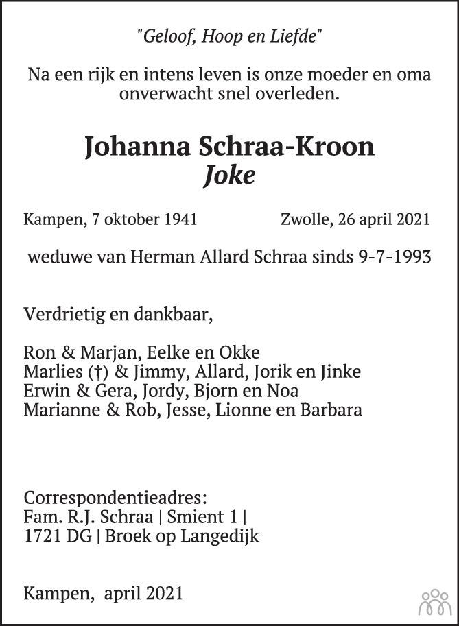 Overlijdensbericht van Joke (Johanna) Schraa in de Stentor