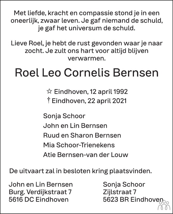 Overlijdensbericht van Roel Leo Cornelis Bernsen in de Volkskrant