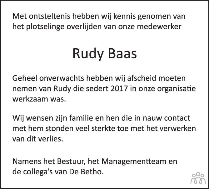 Overlijdensbericht van Rudy Baas in PZC Provinciale Zeeuwse Courant