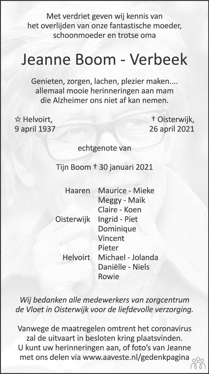 Overlijdensbericht van Jeanne Boom-Verbeek in Brabants Dagblad