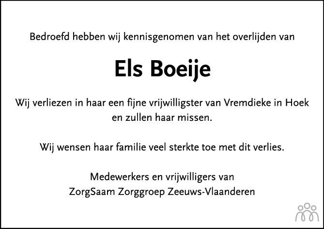 Overlijdensbericht van Elza Dina (Els) Boeije-Karreman in PZC Provinciale Zeeuwse Courant