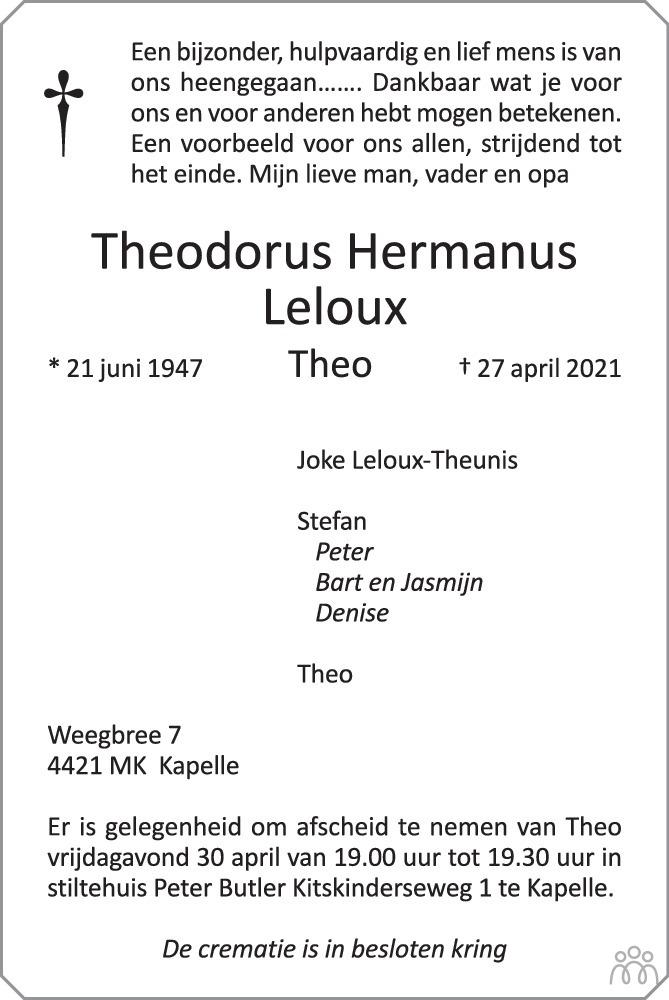 Overlijdensbericht van Theodorus Hermanus Leloux in PZC Provinciale Zeeuwse Courant