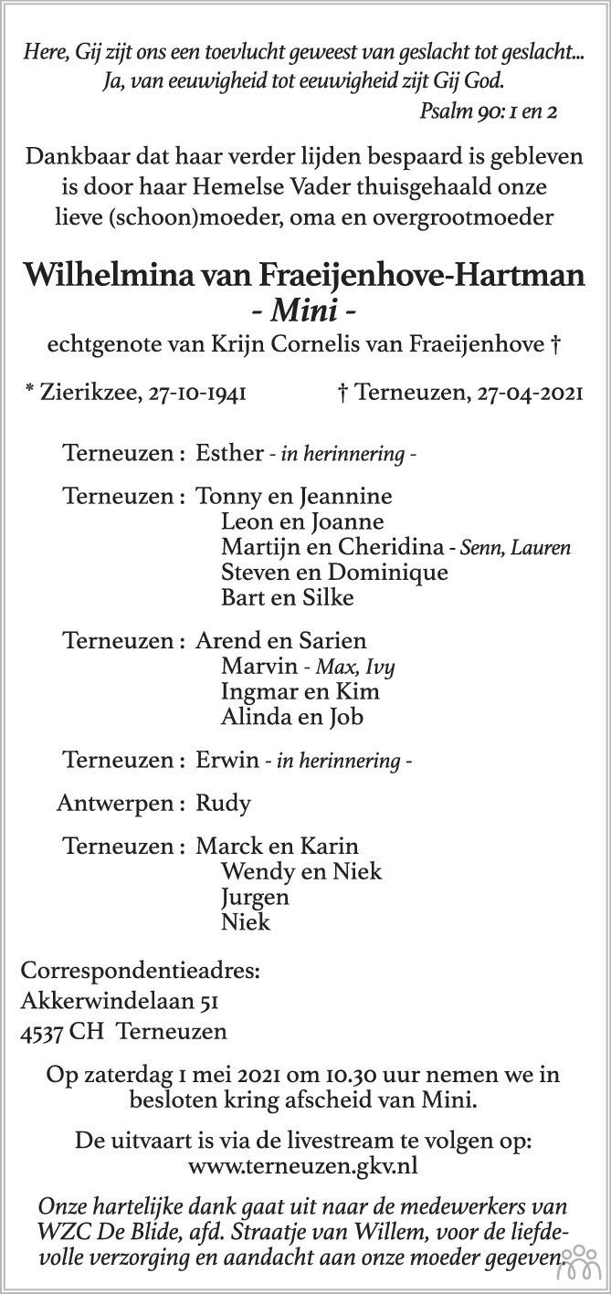 Overlijdensbericht van Wilhelmina (Mini) van Fraeijenhove-Hartman in PZC Provinciale Zeeuwse Courant
