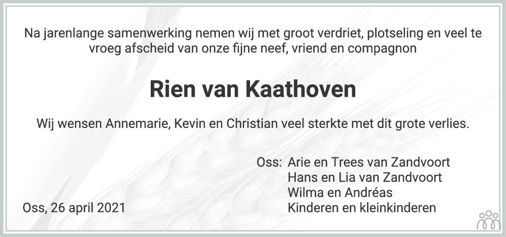 Overlijdensbericht van Rien van Kaathoven in Brabants Dagblad