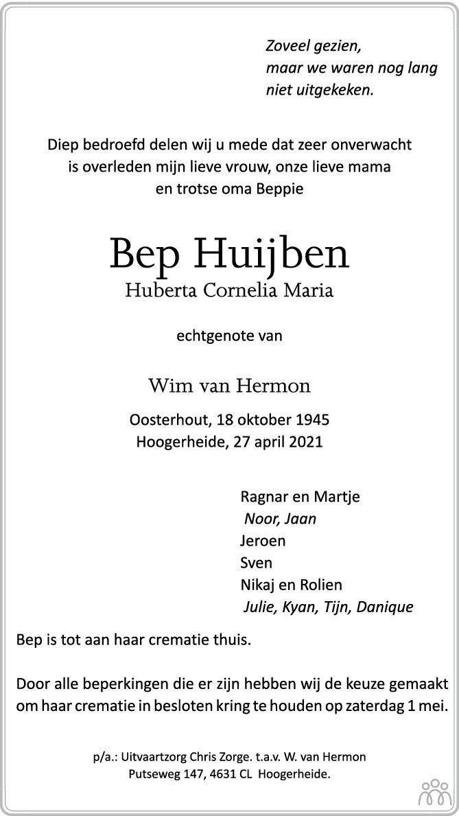 Overlijdensbericht van Bep (Huberta Cornelia Maria) Huijben in BN DeStem