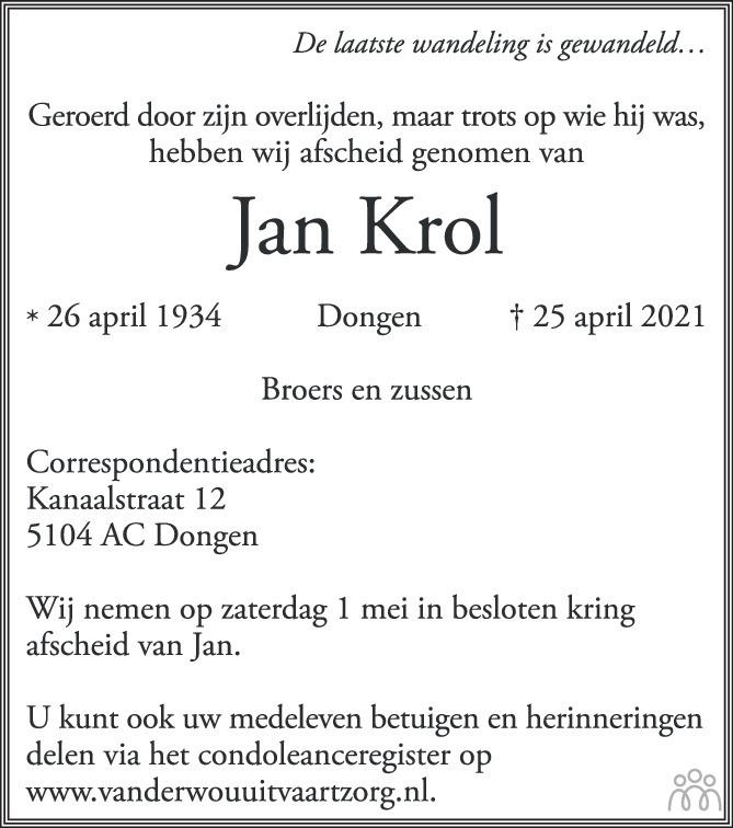 Overlijdensbericht van Jan Krol in BN DeStem