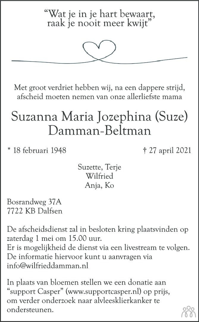 Overlijdensbericht van Suzanna Maria Jozephina (Suze) Damman-Beltman in de Stentor