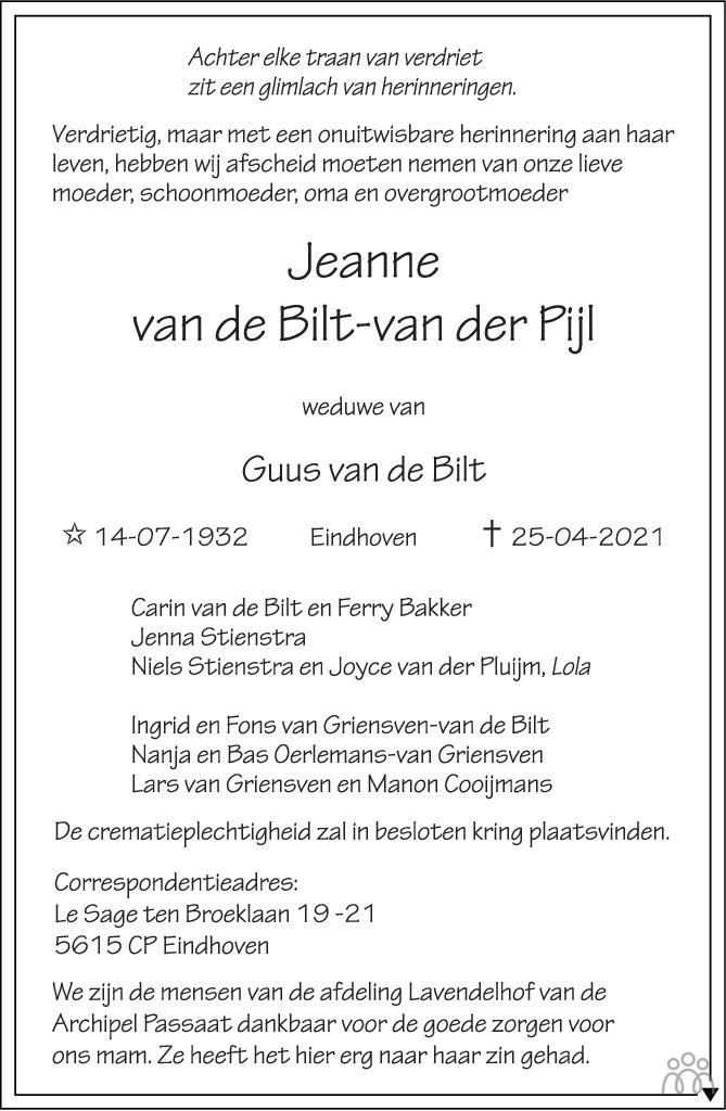 Overlijdensbericht van Jeannne van de Bilt-van der Pijl in Eindhovens Dagblad