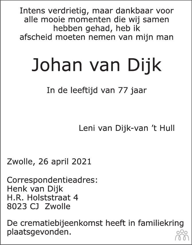 Overlijdensbericht van Johan van Dijk in de Stentor