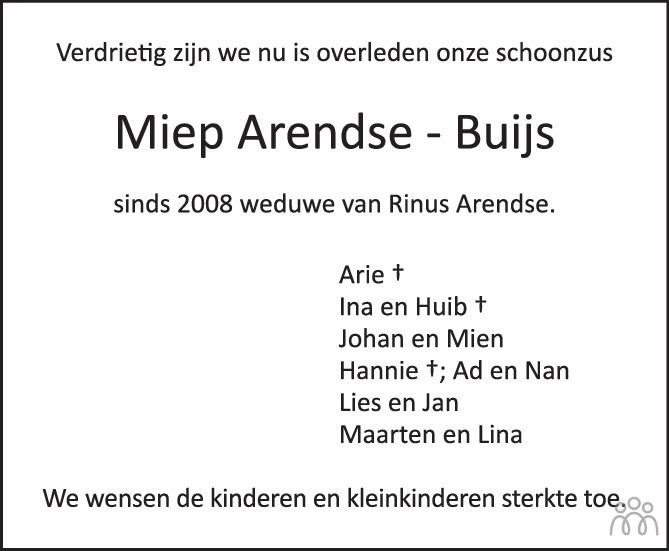 Overlijdensbericht van Wilhelmina Arendse-Buijs in PZC Provinciale Zeeuwse Courant