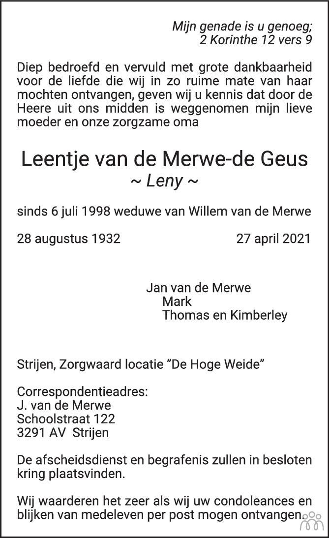 Overlijdensbericht van Leentje (Leny) van de Merwe-de Geus in Het Kompas vrijdag
