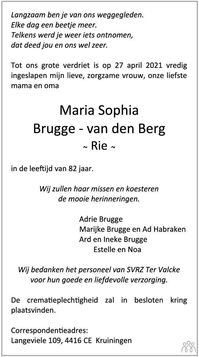 Overlijdensbericht van Maria Sophia (Rie) Brugge-van den Berg in PZC Provinciale Zeeuwse Courant