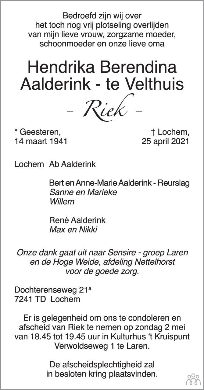 Overlijdensbericht van Hendrika Berendina (Riek) Aalderink-te Velthuis in de Stentor