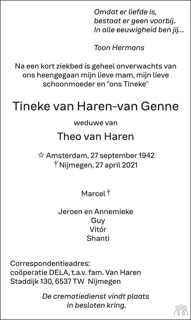 Overlijdensbericht van Tineke van Haren-van Genne in de Gelderlander