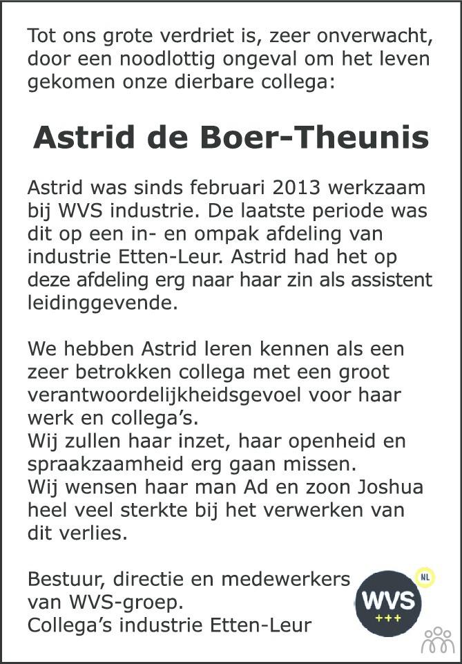 Overlijdensbericht van Astrid de Boer-Theunis in BN DeStem