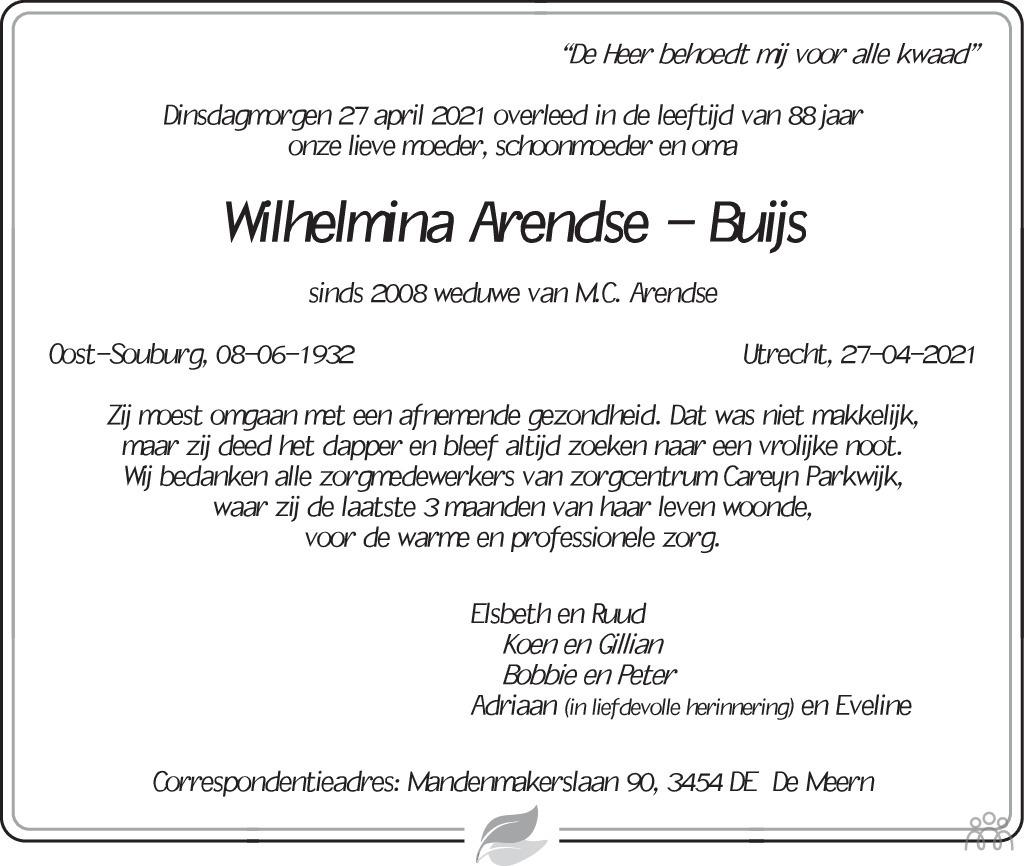 Overlijdensbericht van Wilhelmina Arendse-Buijs in Trouw