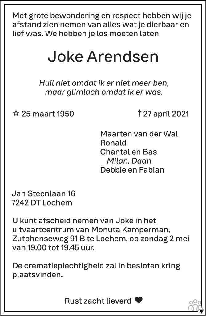 Overlijdensbericht van Joke Arendsen in de Stentor