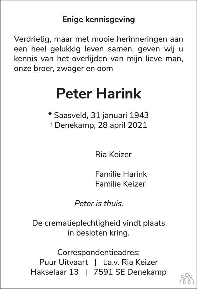 Overlijdensbericht van Peter Harink in Tubantia