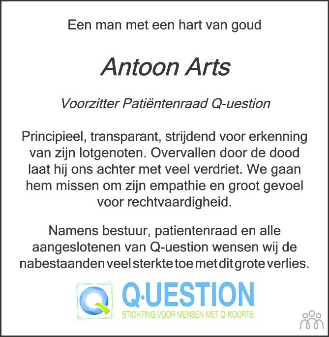 Overlijdensbericht van Antoon Arts in Brabants Dagblad