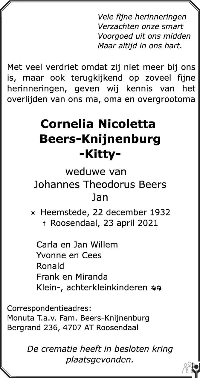 Overlijdensbericht van Cornelia Nicoletta (Kitty) Beers-Knijnenburg in BN DeStem