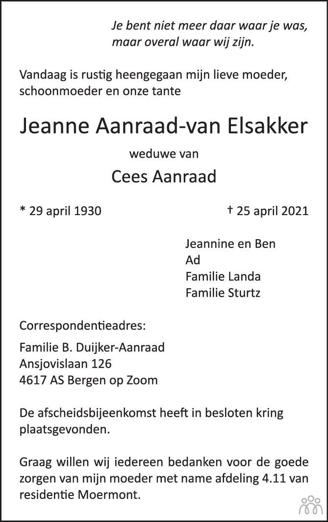 Overlijdensbericht van Jeanne Aanraad-van Elsakker in BN DeStem