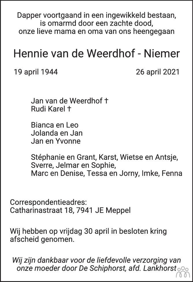 Overlijdensbericht van Francina Hendrika (Hennie) van de Weerdhof-Niemer in de Stentor