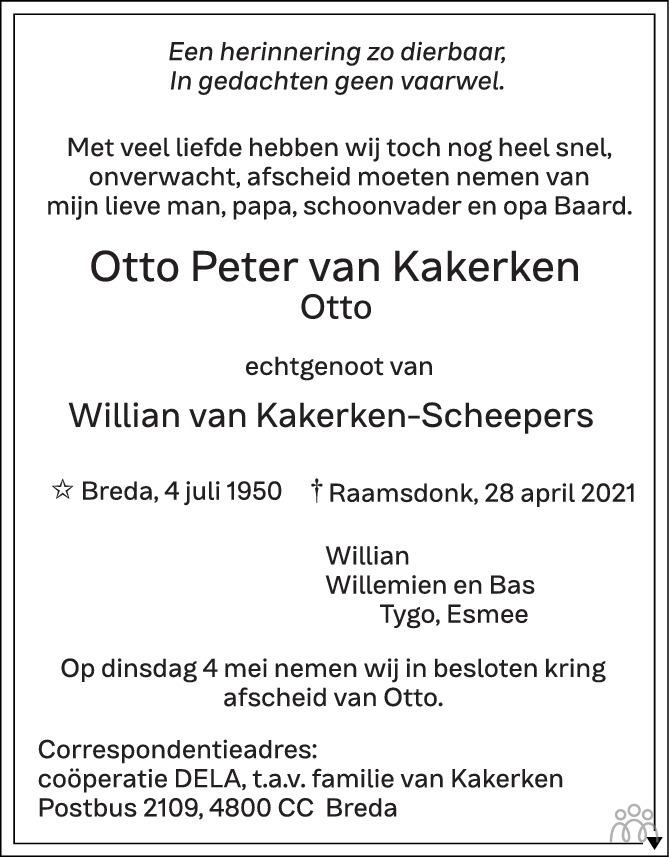 Overlijdensbericht van Otto Peter van Kakerken in BN DeStem