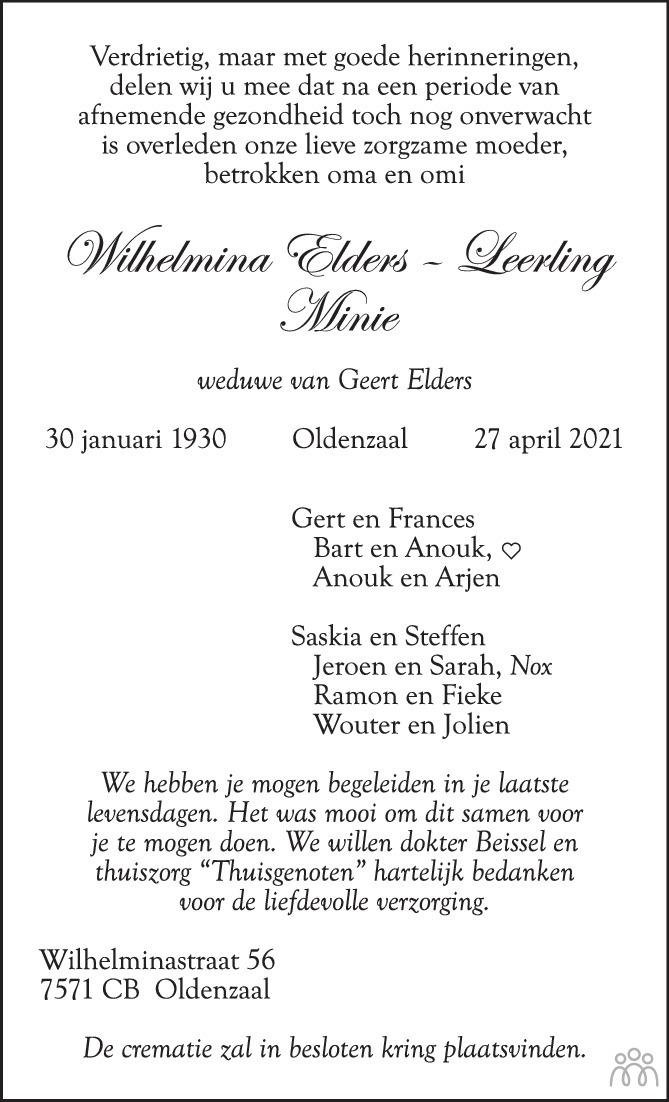 Overlijdensbericht van Wilhelmina (Minie) Elders-Leerling in Tubantia