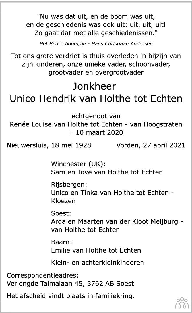 Overlijdensbericht van Unico Hendrik van Holthe tot Echten in de Stentor