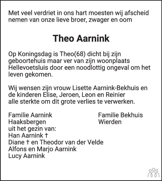 Overlijdensbericht van Theo Aarnink in Tubantia