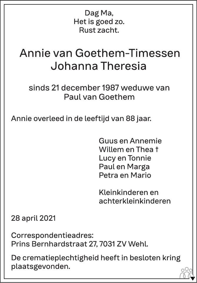 Overlijdensbericht van Annie (Johanna Theresia) van Goethem-Timessen in de Gelderlander