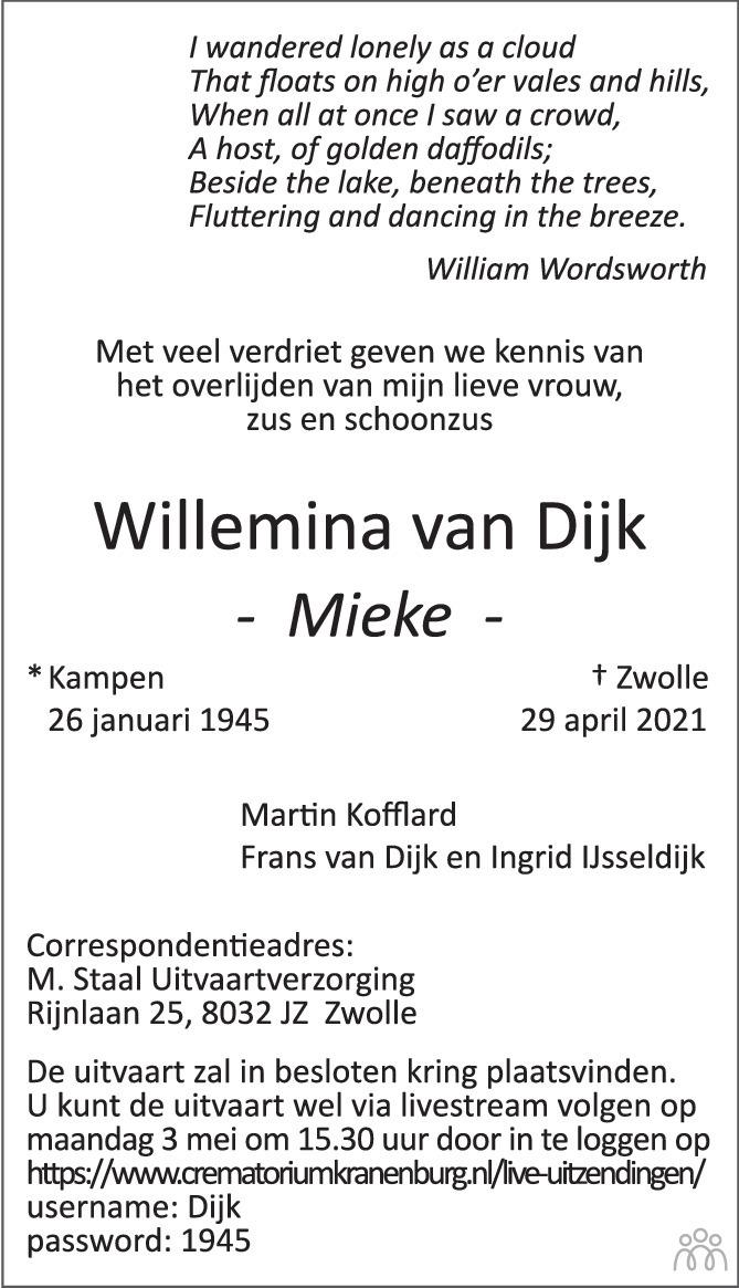 Overlijdensbericht van Willemina (Mieke) van Dijk in de Stentor