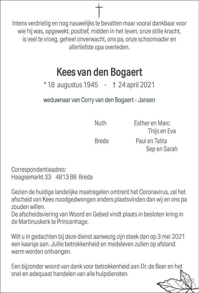 Overlijdensbericht van Kees van den Bogaert in BN DeStem