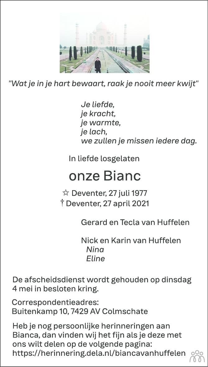 Overlijdensbericht van Bianc van Huffelen in de Stentor