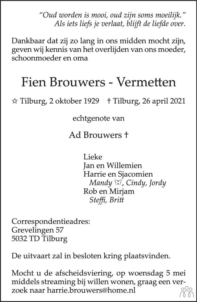Overlijdensbericht van Fien Brouwers-Vermetten in Brabants Dagblad