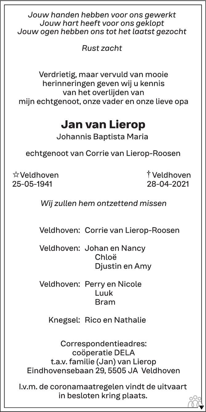 Overlijdensbericht van Jan (Johannis Baptista Maria) van Lierop in Eindhovens Dagblad
