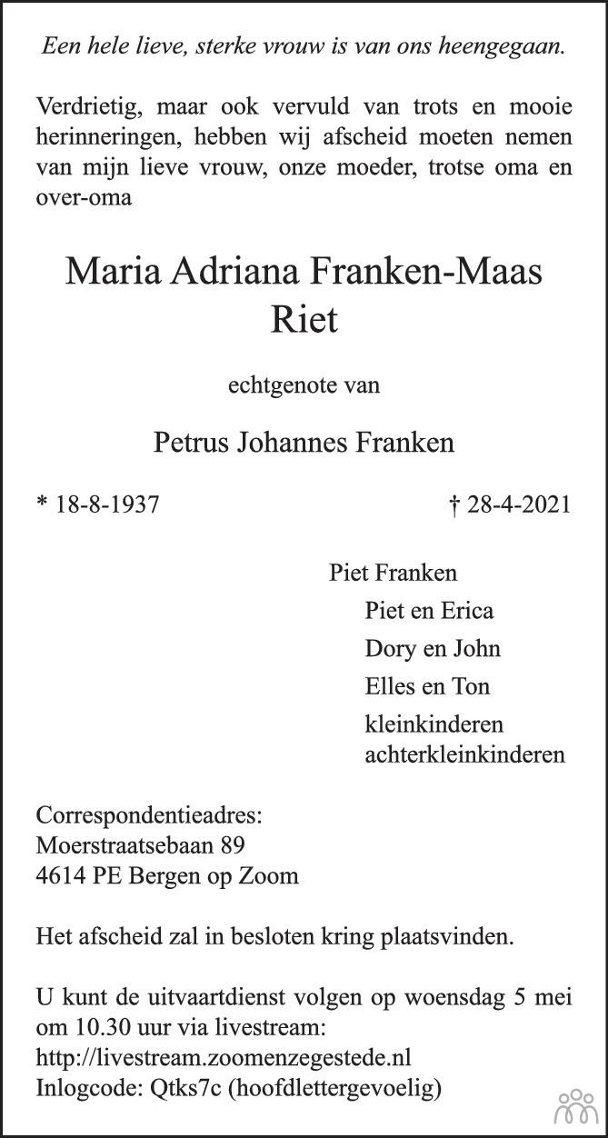 Overlijdensbericht van Maria Adriana (Riet) Franken-Maas in BN DeStem