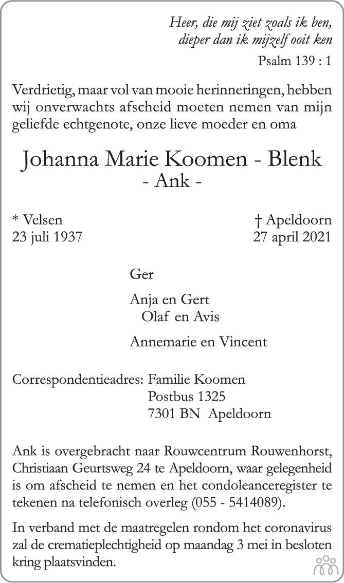 Overlijdensbericht van Johanna Marie (Ank) Koomen-Blenk in de Stentor