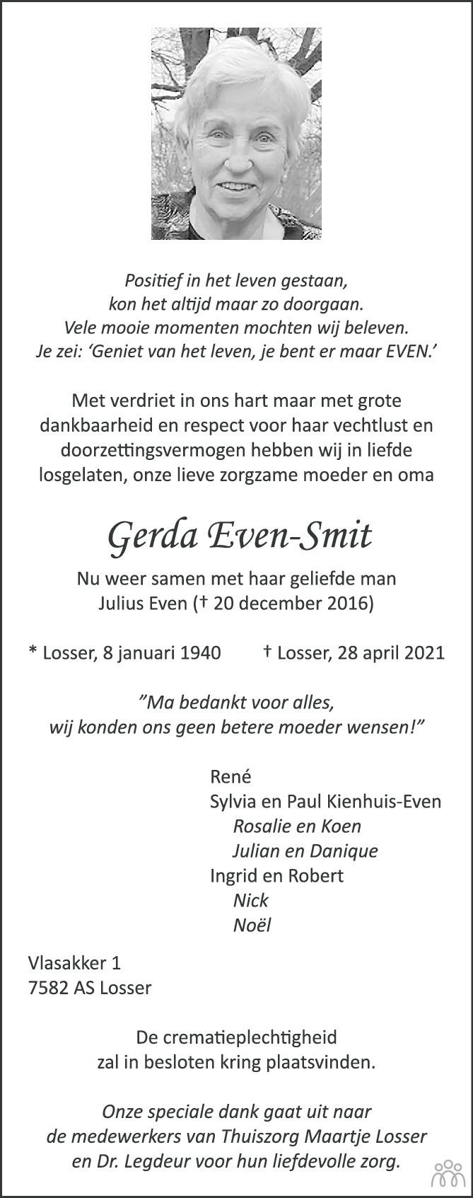 Overlijdensbericht van Gerda Even-Smit in Tubantia