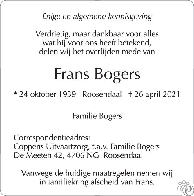Overlijdensbericht van Frans Bogers in BN DeStem