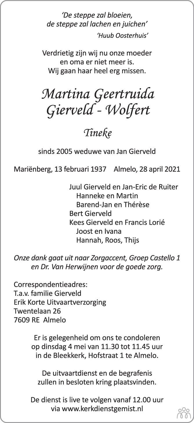 Overlijdensbericht van Martina Geertruida (Tineke) Gierveld-Wolfert in Tubantia