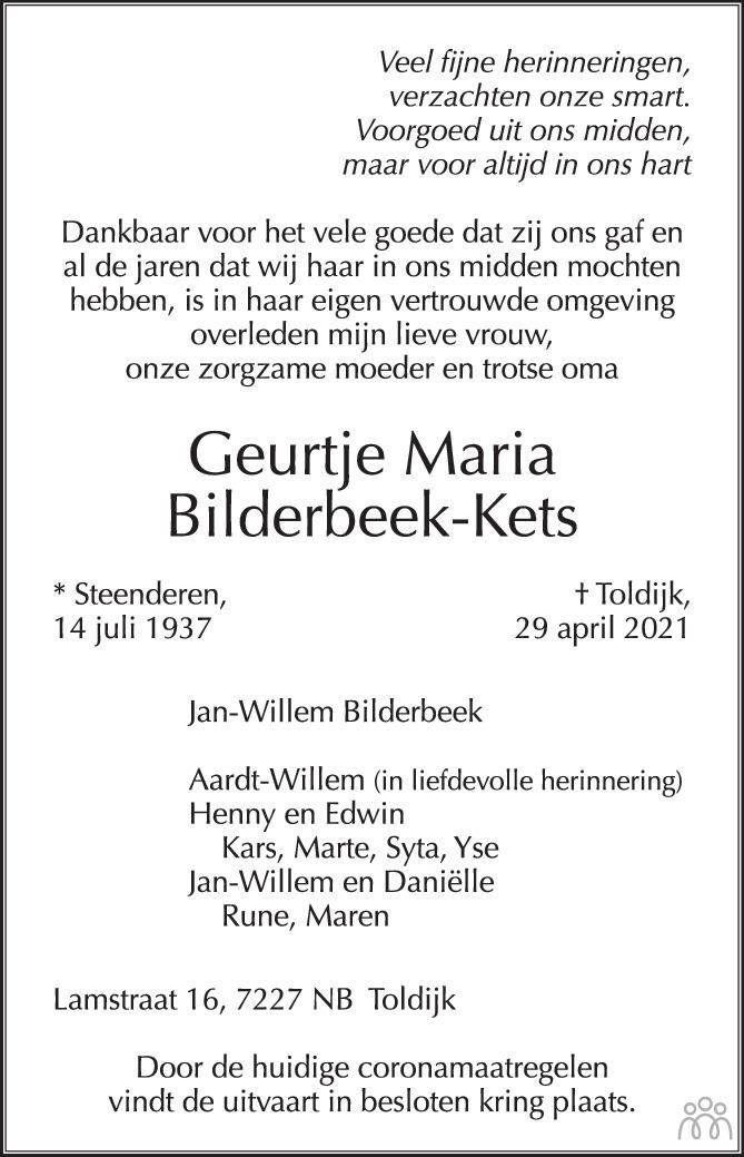 Overlijdensbericht van Geurtje Maria Bilderbeek-Kets in de Gelderlander