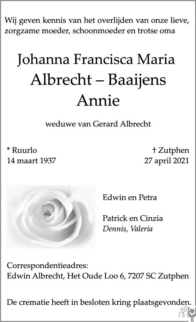 Overlijdensbericht van Johanna Francisca Maria (Annie) Albrecht-Baaijens in de Stentor