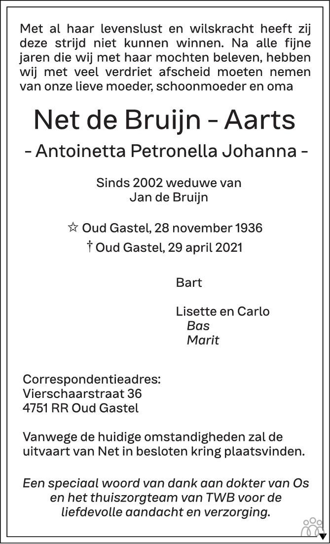 Overlijdensbericht van Net (Antoinetta Petronella Johanna) de Bruijn-Aarts in BN DeStem