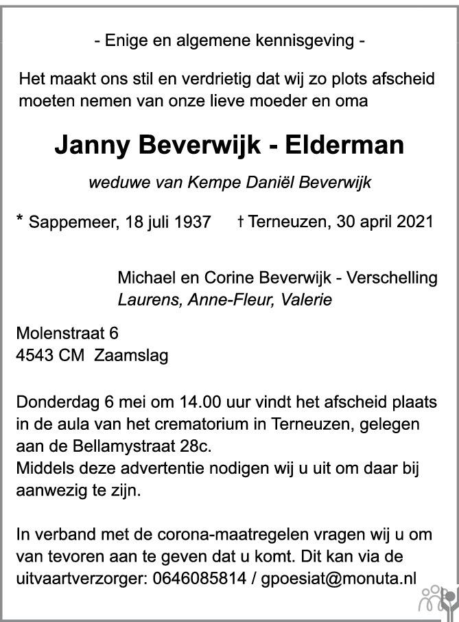 Overlijdensbericht van Janny Beverwijk-Elderman in PZC Provinciale Zeeuwse Courant