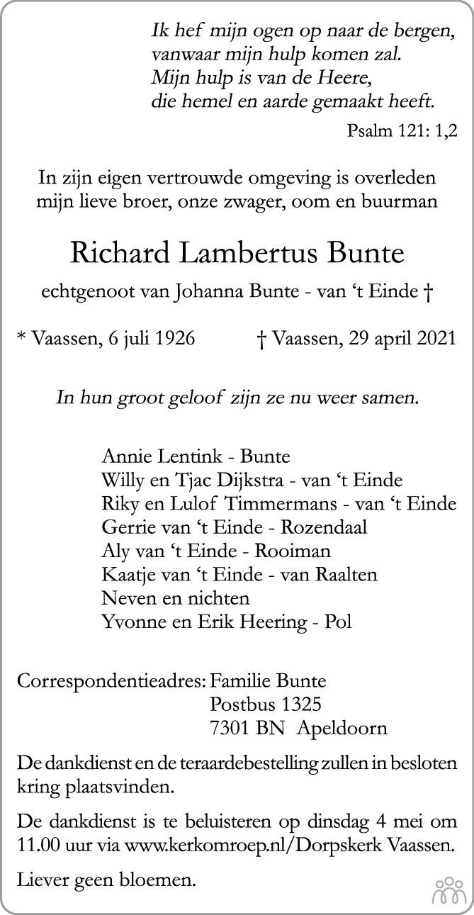Overlijdensbericht van Richard Lambertus Bunte in de Stentor