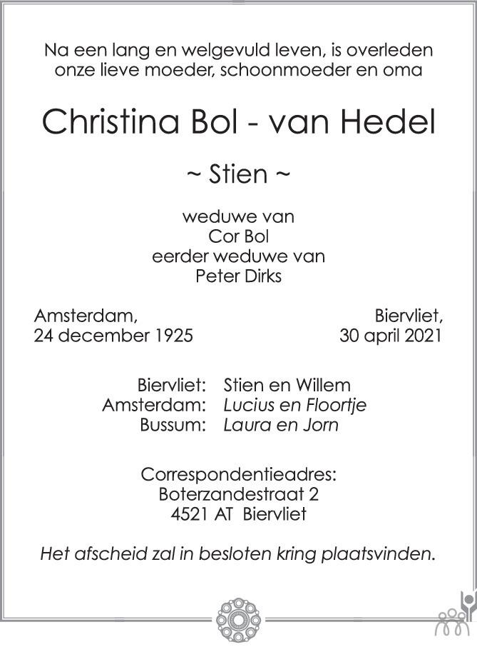 Overlijdensbericht van Christina (Stien) Bol-van Hedel in PZC Provinciale Zeeuwse Courant